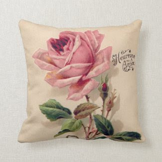 Pink Vintage Rose Pillows
