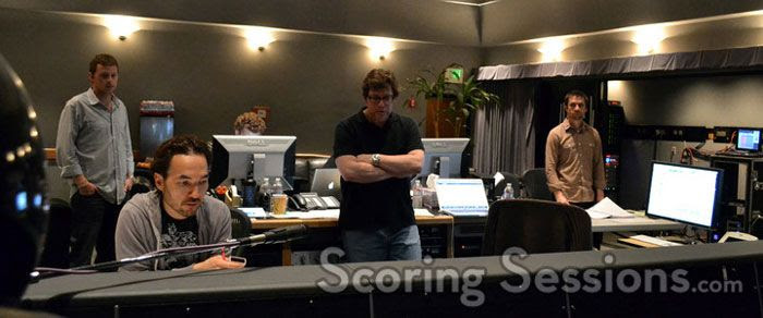 Composer Steve Jablonsky (seated in the foreground at left) oversees TRANSFORMERS: DARK OF THE MOON's scoring session in Culver City.