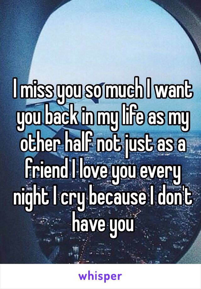 I Miss You So Much I Want You Back In My Life As My Other Half Not