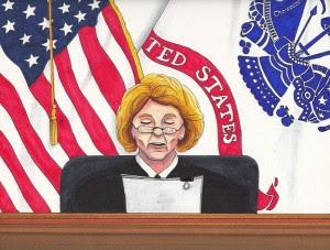 Judge Denise Lind. Sketch by Clark Stoeckley, Bradley Manning Support Network.