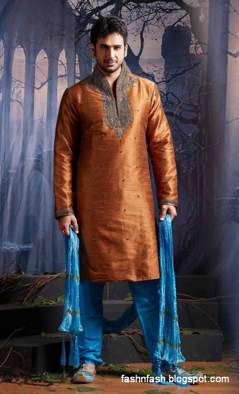 Kurtas Designs-Men-Male New Latest Silk-Cotton Kurta Style Design Collection4