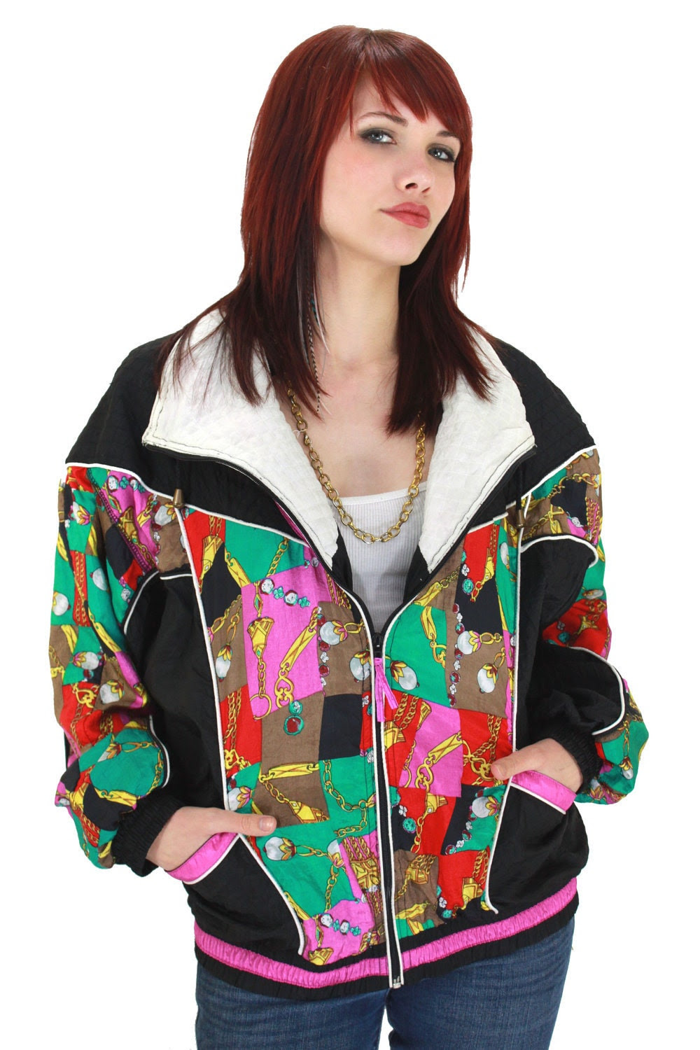 90s Neon Windbreaker Gold Chain Jacket Hip Hop 1990s Vintage Quilted Details Pucci Scarf Chain Print L XL Large XLarge