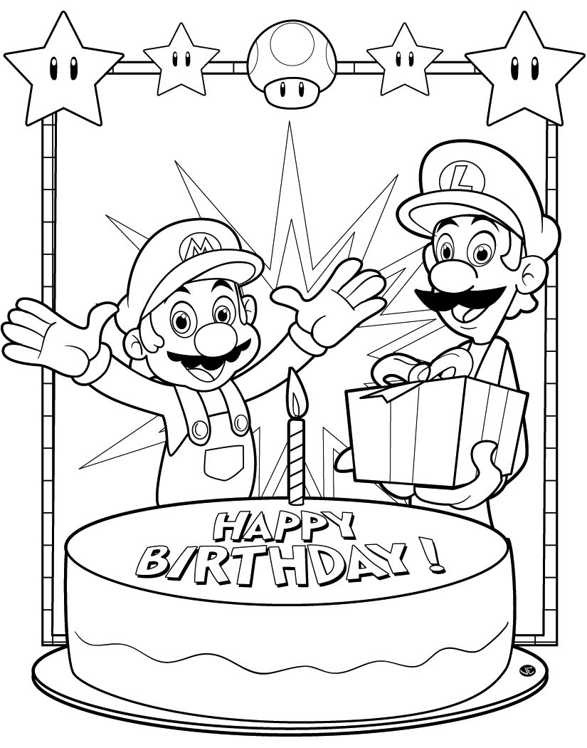 Happy Birthday Super Mario Coloring Pages