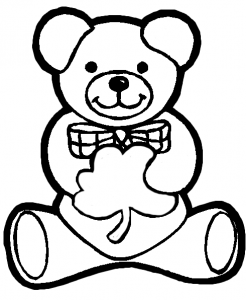 irish teddy bear holding shamrock for saint patricks day coloring book page « saint patrick's