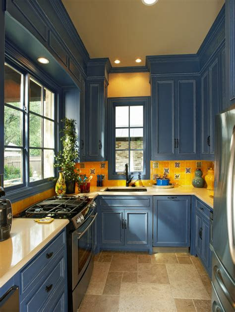 blue  yellow kitchen home design ideas pictures