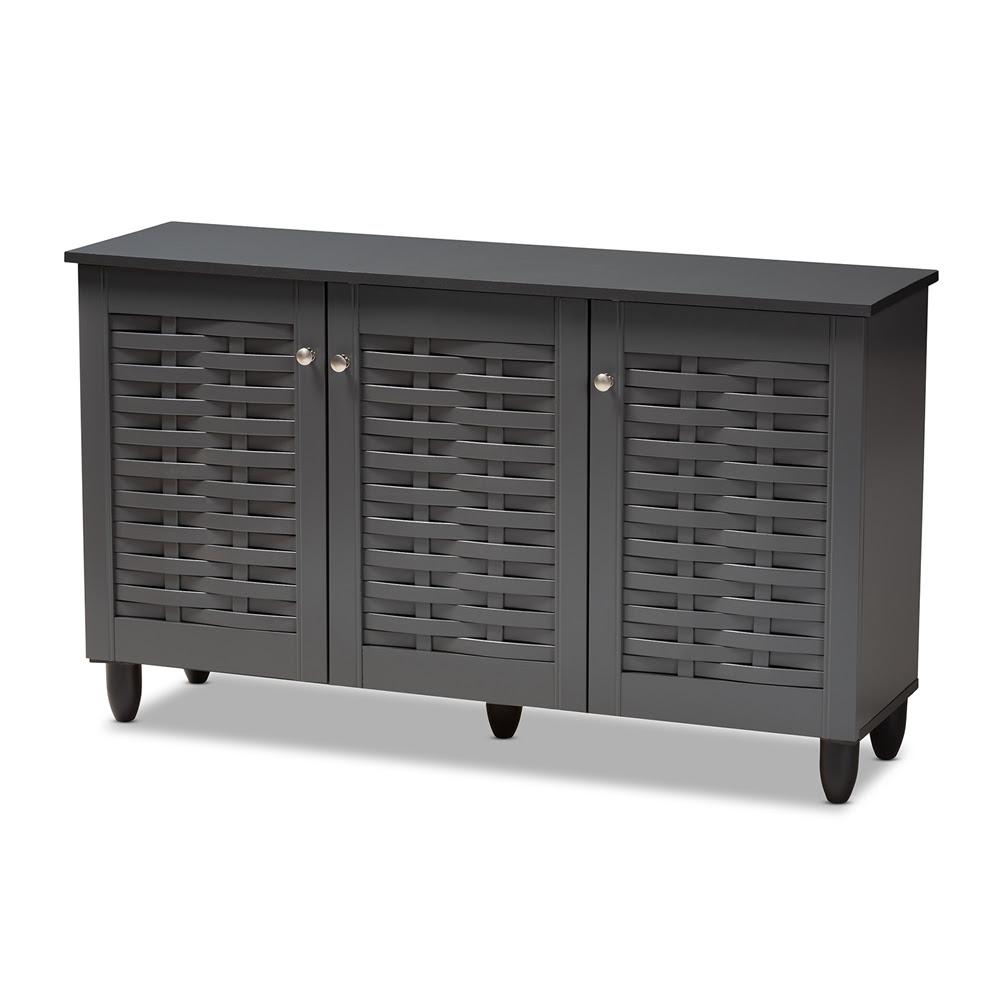 Baxton Studio Winda 3 Door Shoe Storage Cabinet