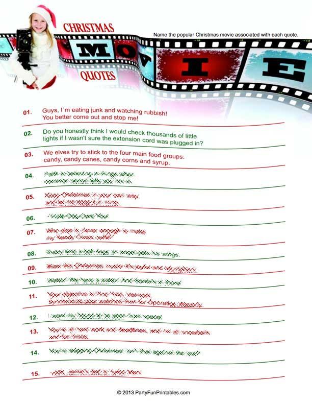 Movie Quotes Quiz Printable. QuotesGram