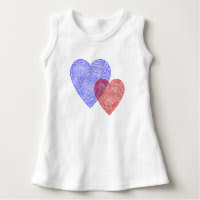 Patriotic Scribbleprint Hearts Infant Dress