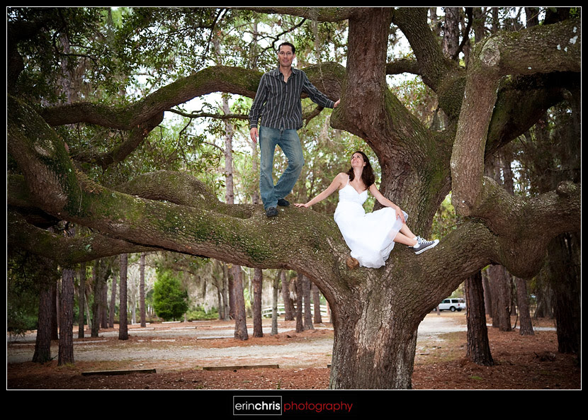 climbing a tree in a wedding dress