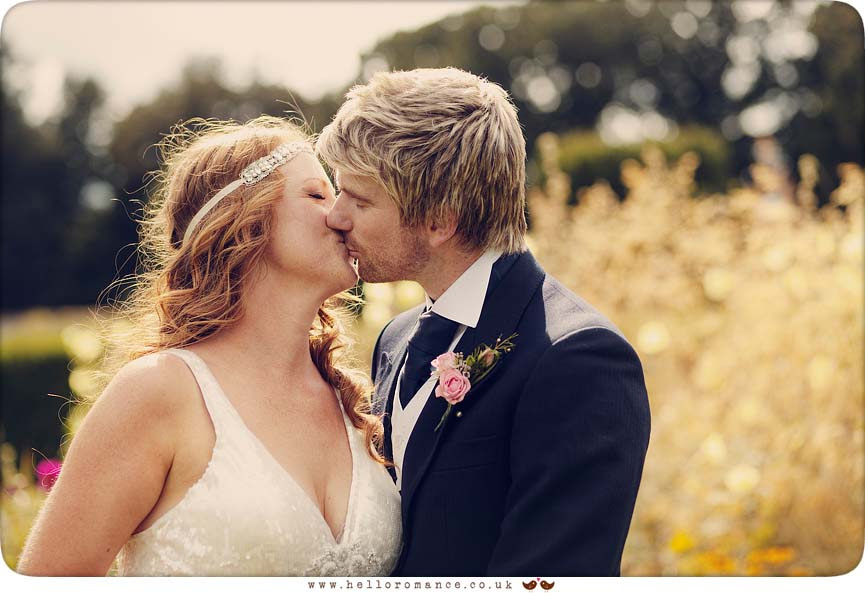 Bride and Groom Kissing, Glemham Hall Wedding Photography Suffolk - Hello Romance