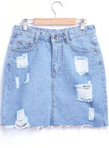Blue Pockets Ripped Denim Skirt