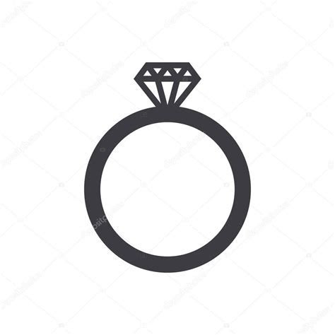 Wedding ring icon, modern minimal flat design style