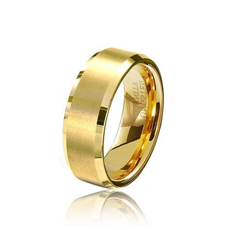 Wholesale 8MM Male Gold Color Tungsten Carbide Rings Mens