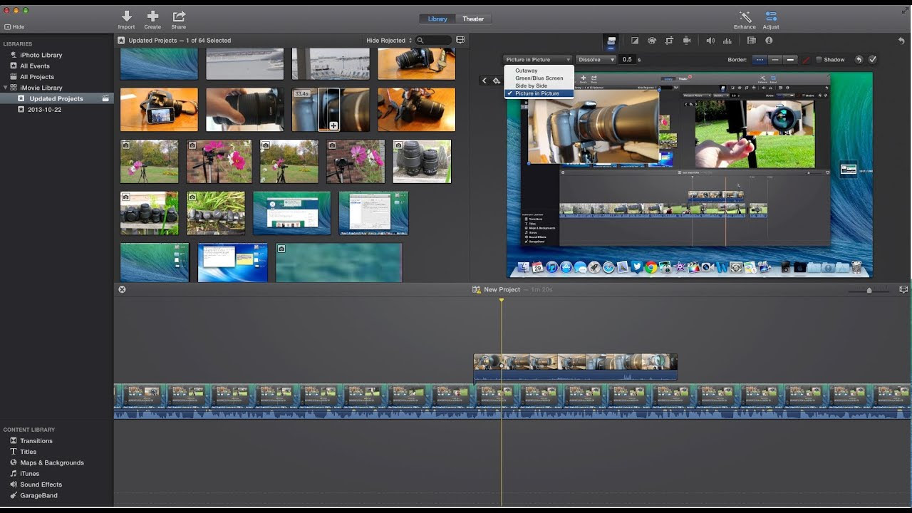 How to Picture in Picture New iMovie Version 10 - YouTube
