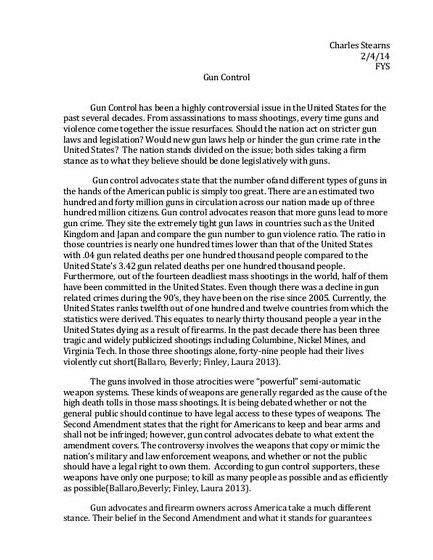 a good thesis statement about gun control