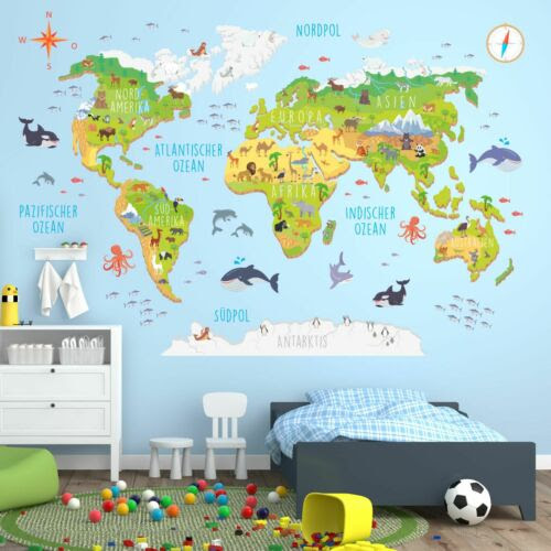 Kinderzimmer Wanddeko Erdoberflache 174 Wandtattoo Weltkarte Mit Tieren 3d
