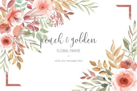 Card template with peach and golden flowers and leaves
