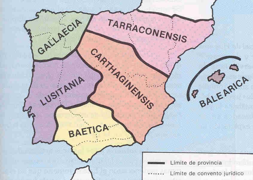 Mapa de División provincial de Diocleciano de Hispania