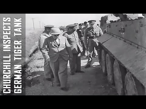 Churchill Inspects Tiger Tank in Tunisia - WWII