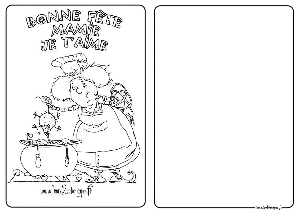 Coloriage Carte Fêtes Des Grand Mères à Imprimer