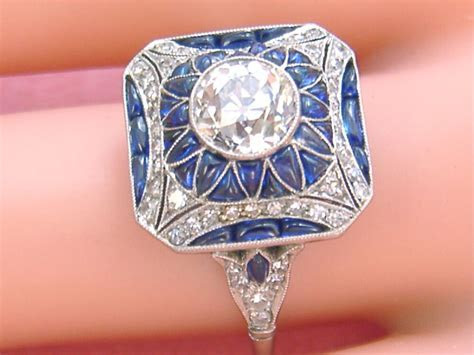 ESTATE ART DECO 1.35ctw EURO DIAMOND SAPPHIRE PLATINUM