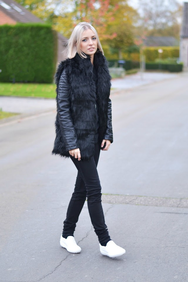 Faux fur vest gilet body warmer furry jacket flurry black trend aw14 fall winter 2014, zara leather jacket biker jacket 2014 new collection black jeans zara skinny, asos baseball top, zara leather croc print slip ons white. street style winter inspiration autumn fashion blogger belgian belgium belgie mode trends 2015 all black
