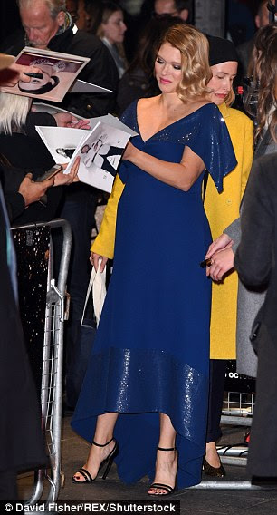 Snap happy: Lea happily posed for pictures and signed autographs for fans