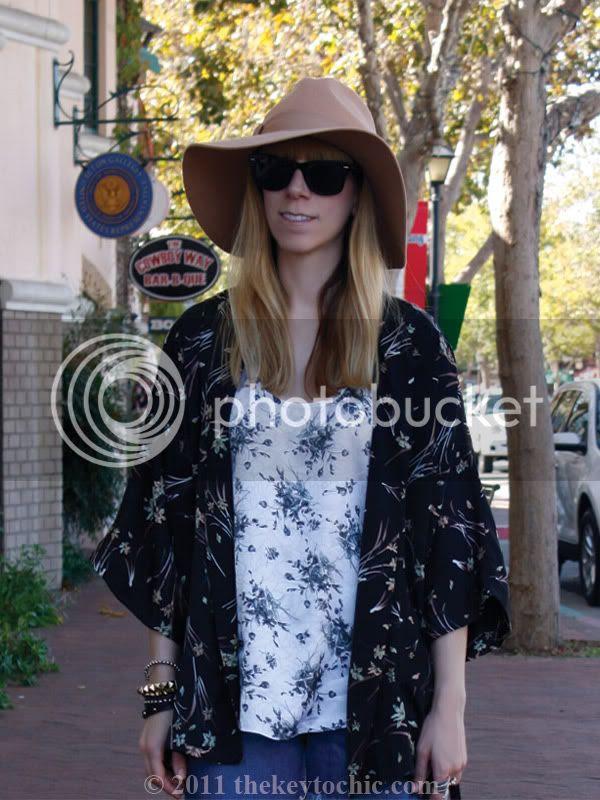 Forever 21 kimono cardigan, floppy hat, southern California fashion blog