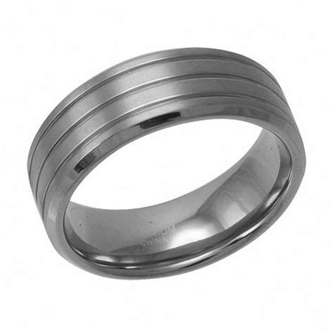 Men's 8.0mm Grooved Titanium Wedding Band   Wedding Bands