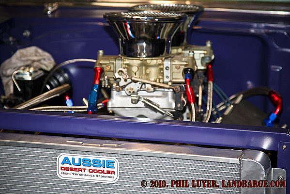 The big Aussie Desert Cooler supplied radiator filling the front of Moonshine Express
