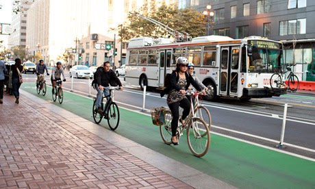 San Francisco urban cycling protected bike lanes