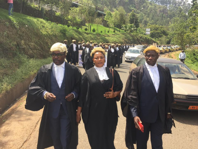 Common Law Lawyers Demonstrating in Bamenda