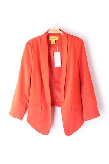 Delicate Pure Color Slim Fit Blazer