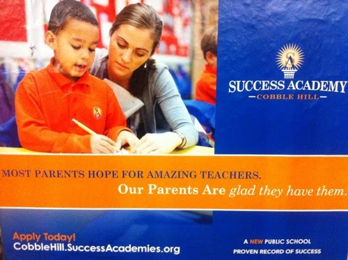 This ad is in the subway stop near the school. This is my first time seeing an elementary school with a million dollar ad budget. Ads have been plastered on doorknobs, in stores, and in mailboxes all over the neighborhood. Well, not quite. The ads have appeared all over the affluent/white areas of the neighborhood, but are noticeably absent from the blocks inhabited by neighbors of color.