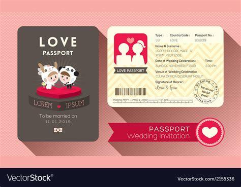 Cartoon Passport Wedding Invitation card Vector Image