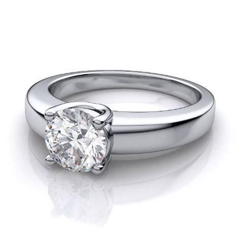 Platinum Low Profile Round Diamond Engagement Ring. (1