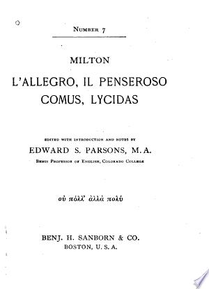 L'allegro and Il penseroso, Comus, Lycidas