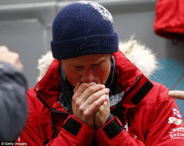 Get used to the cold: The youngest Prince rubbed his hands for warmth as he prepares for the South Pole