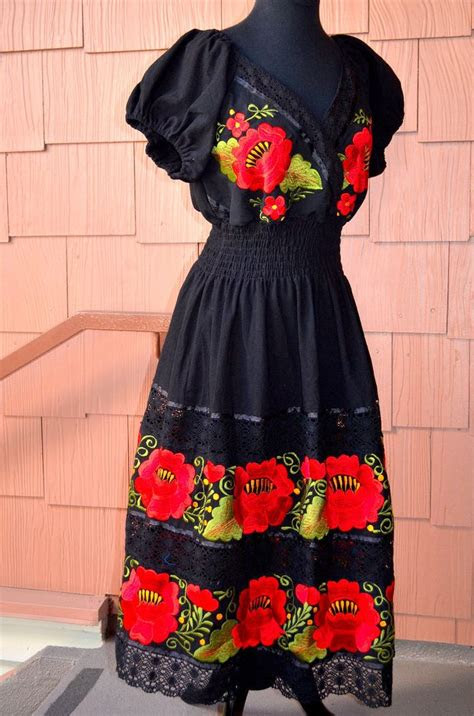 details  sml mexican dress double embroidered
