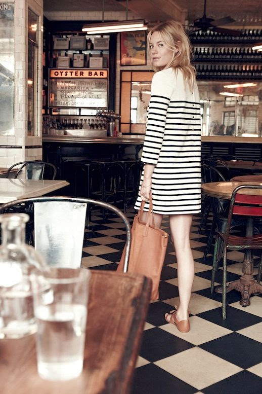 Le Fashion Blog Madewell Sezane Lookbook Camille Rowe Striped Dress Leather Tote Lace Up Sandals