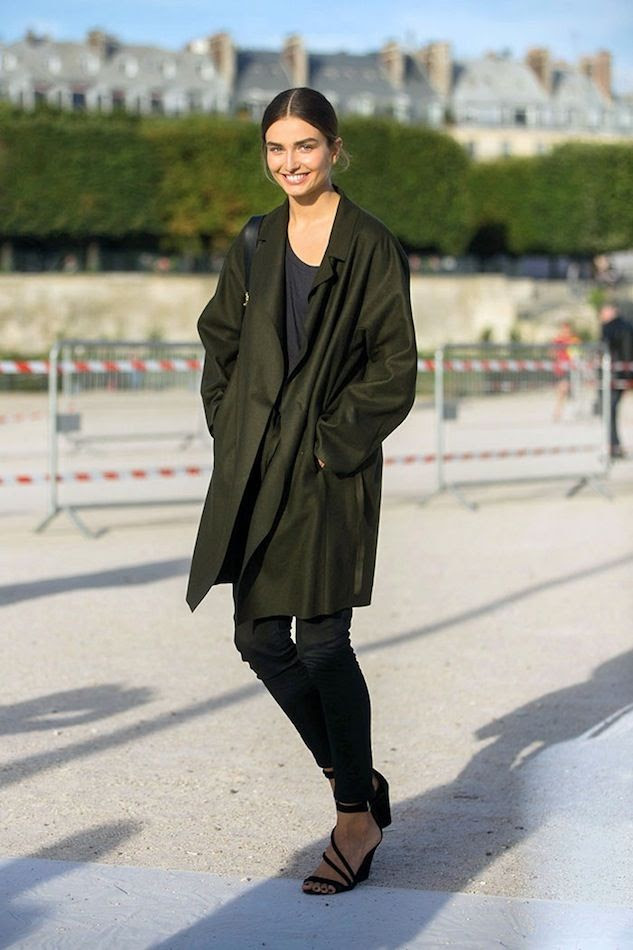 Le Fashion Blog -- Model-Off-Duty Andreea Diaconu -- Green Coat Navy Tee-Skinny Ankle Jeans Strappy Sandals -- Paris Street Style --photo Le-Fashion-Blog-Model-Off-Duty-Andreea-Diaconu-Green-Coat-Skinny-Cropped-Jeans-Strappy-Wedge-Sandals-Paris-Street-Style.jpg