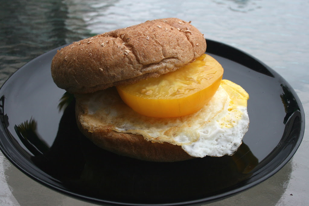 Heirloom and pastured egg breakfast sandwich