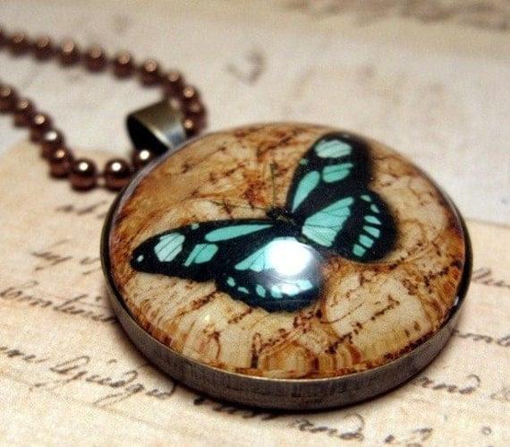Turquoise Butterlfy Necklace - Glass Dome Pendant Vintage Copper, Picture Pendant, Photo Pendant, Art Pendant by Lizabettas