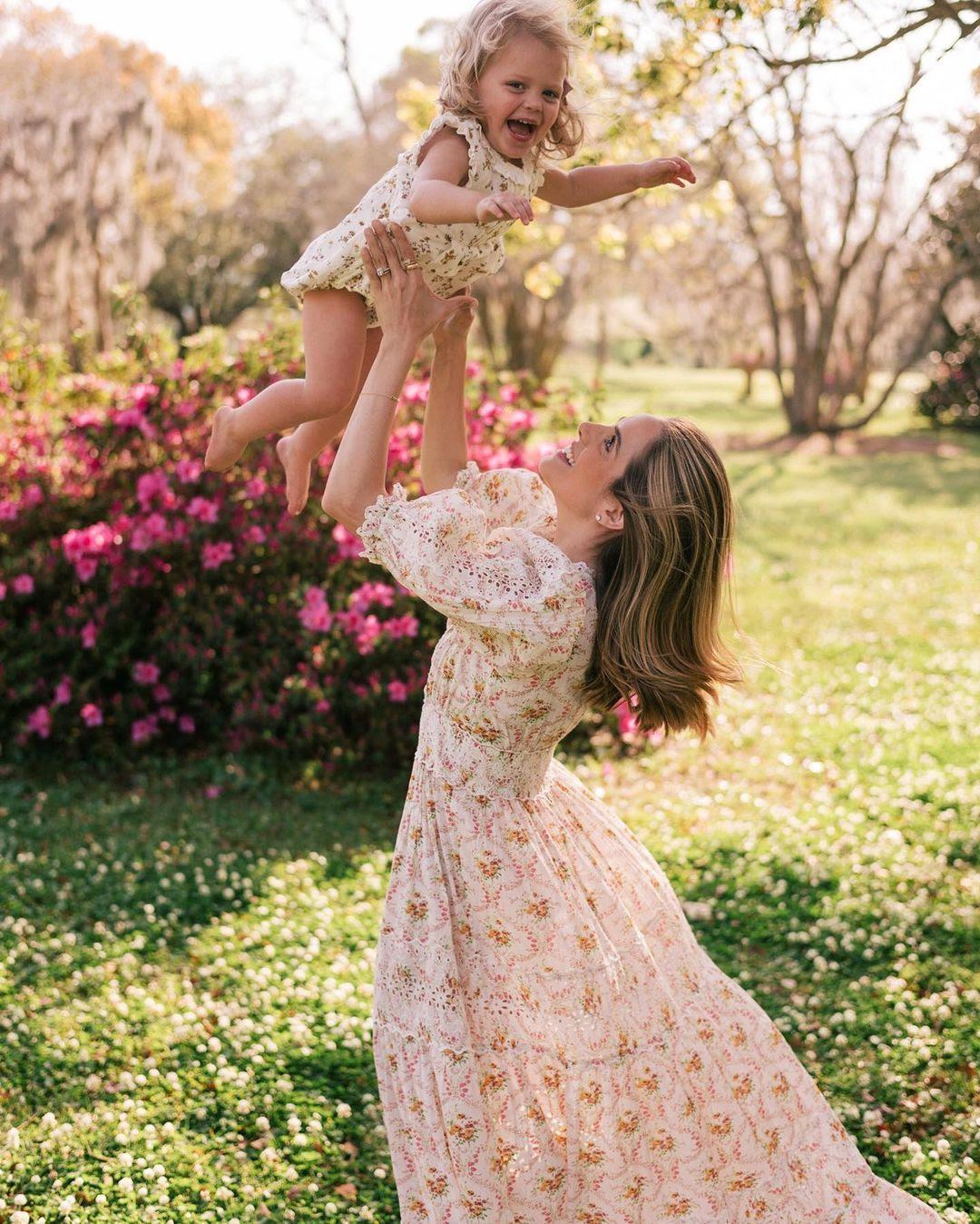 cream pink floral dress