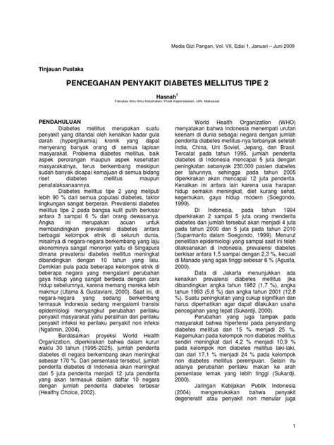 Jurnal Pencegahan Penyakit Diabetes Mellitus