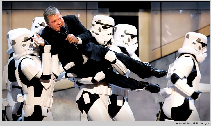 Shatner carried on-stage by Stormtroopers: Photographed by Kevin Winter/Getty Images