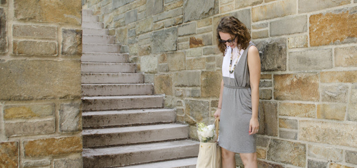 august outfit post, farmers market outfit, flower shopping, summer weekends, gray and white dress, layered necklaces, curls, dash dot dotty, nude pointy flats