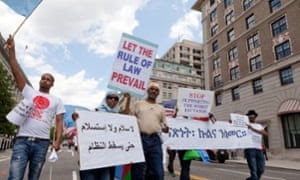Eritreans protest for democratic change and human rights in Eritrea - Washington, DC US on 23May 2014