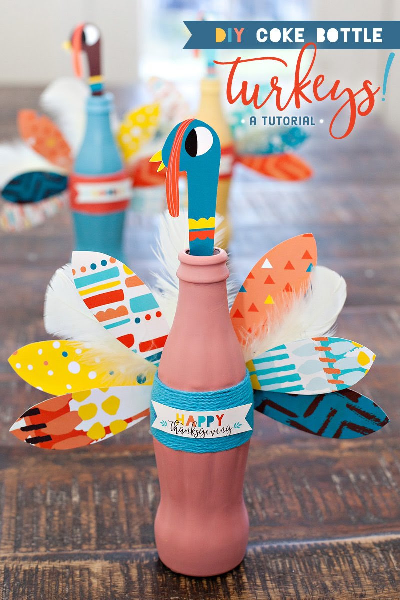 Thanksgiving Craft Colorful Coke Bottle Turkeys Hostess With The