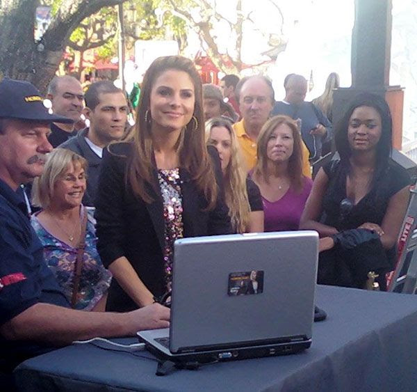'Extra' TV correspondent Maria Menounos makes an appearance at The Grove in Los Angeles.